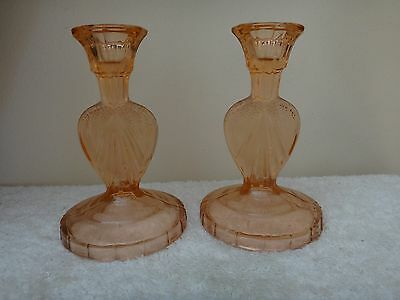 Vintage Pair Bagley Sowerby Glass Candlesticks Pink/Peach glass c1930s
