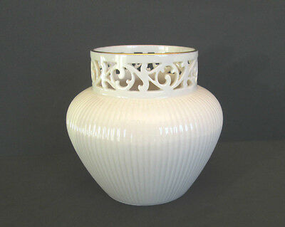 """Lenox Classic """"Tracery"""" Ball Vase with 24Kt. Gold Trim"""