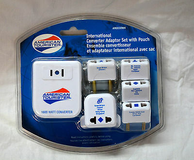 American tourister International converter adaptor set with pouch  ( #bte7 )