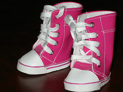 "15-16- 17"" Dolls - Hot Pink Vinyl Boots With Laces - New"