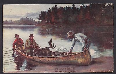 Circa 1909 Vintage Postcard Canadian Camp Life - Bringing Home The Spoils