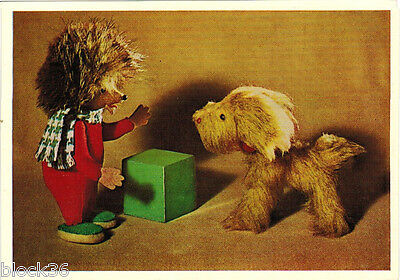 1966 Russian postcard SOFT TOYS HEDGEHOG PUPPY prepared by 13 yrs old girl