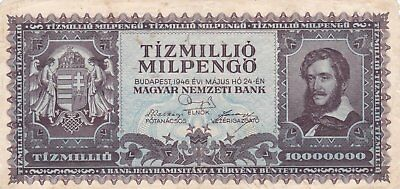 Banknote From Hungary10Million Pengo