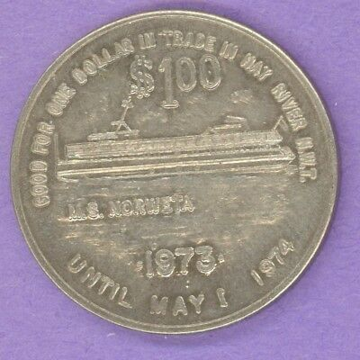 1974 Hay River NWT SCARCE Trade Dollar or Token Ship MS Norweta WITH FLAG