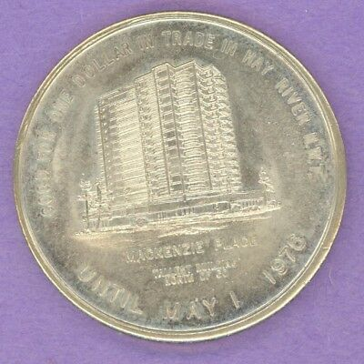 1976 Hay River NWT Trade Dollar or Token MacKenzie Place a SCARCE TOKEN