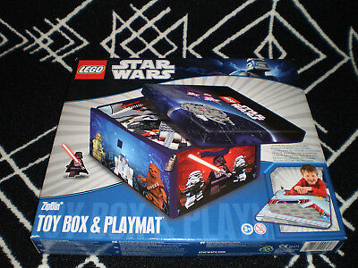 NEW Lego Star Wars Toy Box & Playmat Brick Storage Bin Container ZipBin