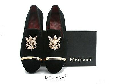 Men Black Velvet With Gold Metal Toe loafers