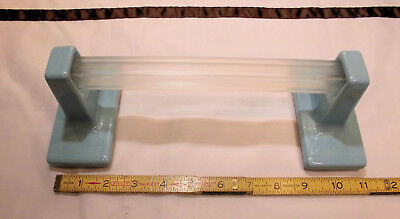 "Vintage…Blue Ceramic…Towel Bar Brackets-Post...one pair with 24"" pole...NOS"