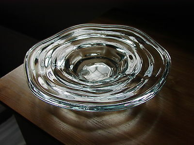 "Orrefors Sweden Crystal Art Glass  ""Ripple"" Optic Moulded Shallow Dish"