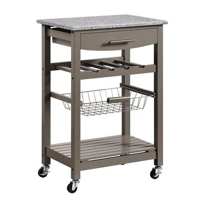 Macy Kitchen Cart With Granite Top Gray, White Or Teal Green