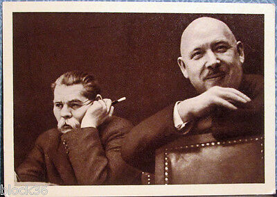 1968 postcard Maxim Gorky and Demyan Bednyi in 1935 at plenum of Soviet writers