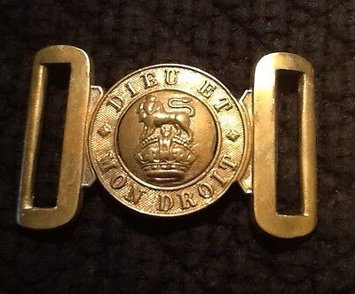 Great War (WW1) British Army Brass Belt Buckle, Dieu Et Mon Droit, Kings Crown