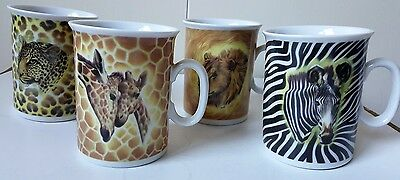 4 Email De Limoges Safari Mugs Signed Fiorilli - Lion - Tiger - Giraffe - Zebra
