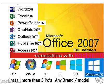 Microsoft Office 2007 for Windows 7,8 &10 Word, Excel,Power point, etc (3 PC's)