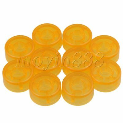 Electric Guitar Effects Parts Switch Pedal Cap Yellow Set of 10 Plastic