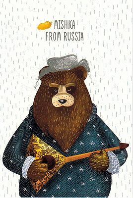 MISHKA FROM RUSSIA WITH BALALAIKA Modern Russian postcard
