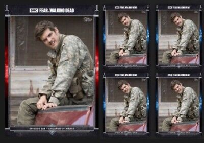 FEAR 308 #3-TROY OTTO-RED +4x BLUE-TOPPS FEAR THE WALKING DEAD CARD TRADER