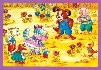 Russian card (NOT postal card) DOG CAT PIG MOUSE GOAT CHICKEN DUCK in conflict