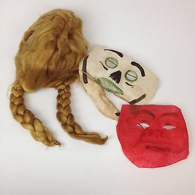 VTG Antique 30s Halloween Costume Lot Wig Gauze Fabric Linen Muslin Mask Creepy