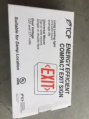 Nib Tcp Energy Efficient Compact Red Led Exit Sign Wet Dry Battery Backup227436