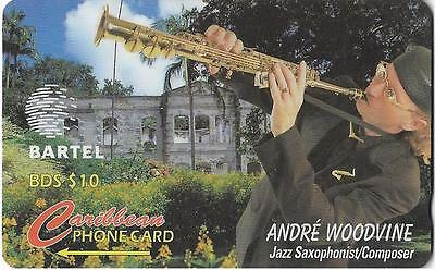 Bartel The Caribbean Phonecard Andre Woodvine Jazz Saxophonist Composer Bds 10$