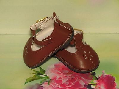 Shoes To Fit The American Galoob Baby Face Girl Doll Brown Flower Maryjane
