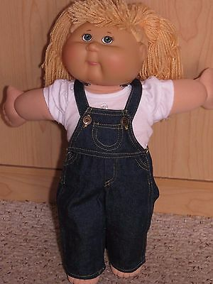 """Cute 2 Piece Jeans Overalls Outfit With Top To Fit The 16"""" Cabbage Patch Doll #3"""