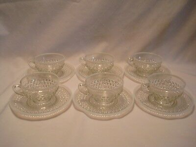 Set Of 6 Moonstone Cups & Saucers Anchor Hocking 1941 - 46