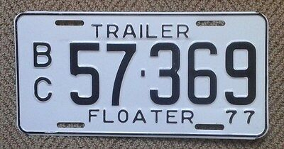 "Rare 1977 British Columbia All Embossed ""Trailer Floater"" Licence Plate 57 369"
