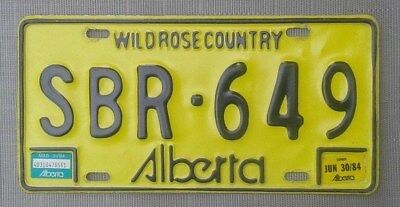 Alberta Wild Rose Country License Plate all embossed June 1984 KB~10~35 Canada