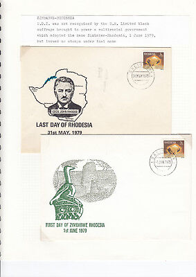 Rhodesia - Last day and first day covers of Zimbabwae/Rhodesia