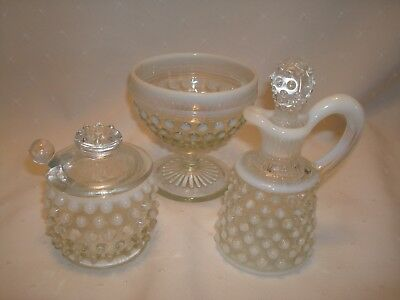 Fenton Or Moonstone Cruet Set Anchor Hocking 1941 - 46 Rare