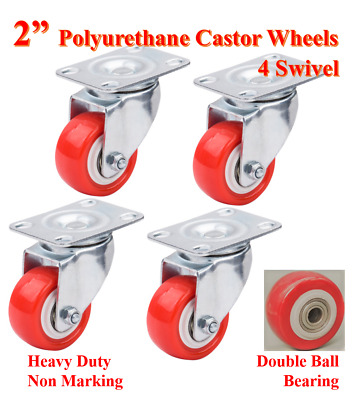 "2"" Castor Wheels, Polyurethane, Heavy Duty, 60kg Loading Capacity, Trolley Bench"