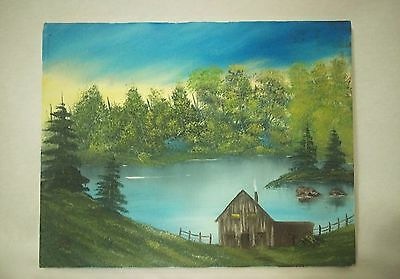 Cabin by the lake on canvas painting medium art  11x14in- Signed by artist