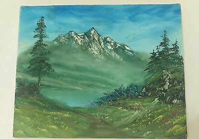 Mountain fog landscape on canvas painting medium art  11x14in- Signed by artist