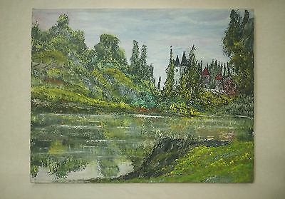 Castles and pond on canvas painting medium art  11x14in- Signed by artist