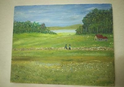 landscape and fields on canvas painting medium art  10x8in- Signed by artist