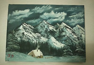Winter Mountain Cabin on canvas painting medium art  9x12in- Signed by artist