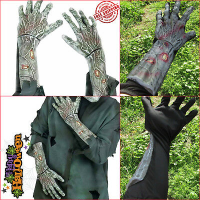 Halloween Costume Scary Zombie Hands Arm Gloves Dead Haunted Creepy Adult