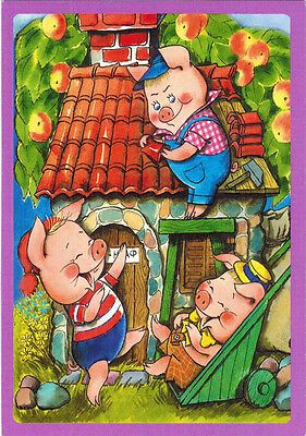 THREE HAPPY PIGLETS card (NOT postal card) with verse on the reverse