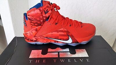 a46b6a7be59 NIKE LEBRON XII 12 Independence Day 4Th Of July Light Crimson Sz 11 ...
