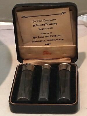 Antique Eli Lilly Emergency Medical Apothecary Ampule Bottle Kit Case & Papers