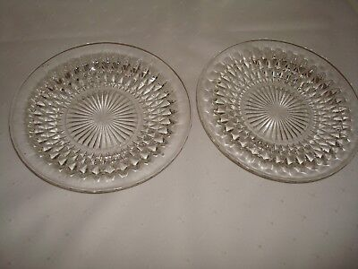 """Indiana Glass Diamond Point Side  Plates  7"""" Set Of Two"""