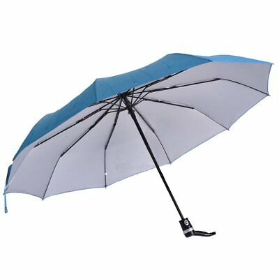 Auto Open And Close Umbrella Inverted Folding Compact Windproof Travel Blue USA