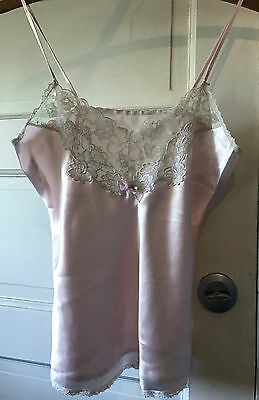 """Vintage Camisole Pink with Lace and Flower Silky 34"""""""