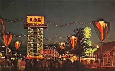 "Toronto, CANADIAN NATIONAL EXHIBITION~Night Midway ""SHELL TOWER"" Chrome Postcard"