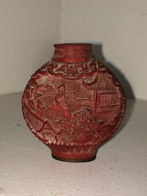 Antique Chinese Snuff Bottle Red Carved Cinnabar