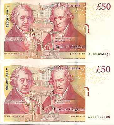 2010 aUNC Pair Bank of England Fifty Pounds Banknotes Ending: 099-i00