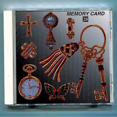 Janome 8000 9000 Elna Kenmore Embroidery Memory Card Gold Jewelry and Keys No 28
