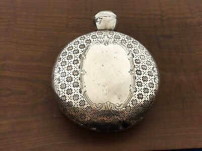 ANTIQUE Victorian Round Silver Pewter Hip Flask Barware Alcohol Liquor